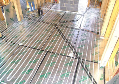 Underfloor heating installation in kitchen extension
